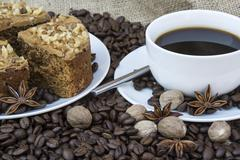 Coffee and pastries continental breakfast buffet table setting Stock Photos