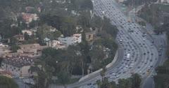 Ultra HD 4K Los Angeles Skyline, Hollywood Highway, commuters, LA motorway Stock Footage