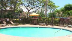 Resort Swimming Pool Panning Shot Stock Footage