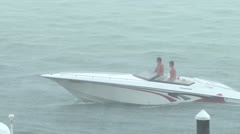 Boat in Rain Storm Stock Footage