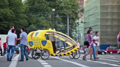Pedicabs for provides attractive walks in city Stock Footage