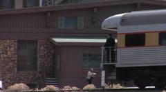 Conductor on Grand Canyon Railway - Train Arriving Stock Footage