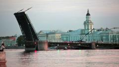 Vasilevsky island with raised Palace Bridge, Saint-Petersburg Stock Footage