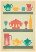 Mid century dishes set - stock illustration
