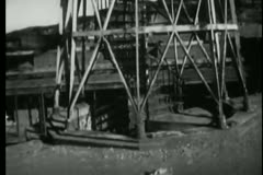Scarf falling from tower of Fort Point, San Francisco, California Stock Footage