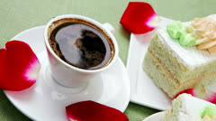 cake with whipped cream served with black coffee - stock footage