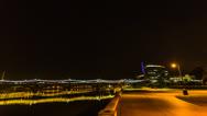 Stock Video Footage of HD 30p Tempe Beach Park night time lapse facing Mill Avenue Bridge