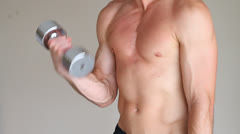 Man Dumbbell Exercises Stock Footage