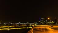 Stock Video Footage of HD 24p Film Tempe Beach Park night time lapse facing Mill Avenue Bridge