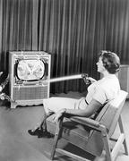 Early Zenith remote control TV set, June 1955 Stock Photos
