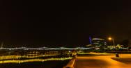 Stock Video Footage of 2K 30p Tempe Beach Park night time lapse facing Mill Avenue Bridge