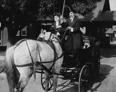 Gentlemen driving carriage with horse hitched backwards Stock Photos
