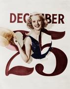 Woman bursting through calendar on Christmas day Stock Photos