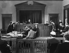 Courtroom scene - stock photo