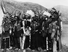 Group of Native Americans in traditional garb Stock Photos