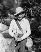 Portrait of female fisherman - stock photo