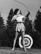 Female archer - stock photo