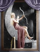 Woman sitting on crescent moon with bow and arrow Stock Photos