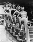 Women posing in bathing suits Stock Photos