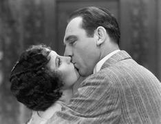 Closeup of couple kissing Stock Photos