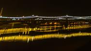 Stock Video Footage of HD 24p Film pan Tempe Beach Park night time lapse facing Mill Avenue Bridge