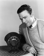 Portrait of man with radio microphone Stock Photos