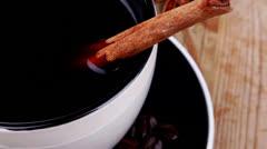Sweet dessert : black coffee and chocolate cake Stock Footage
