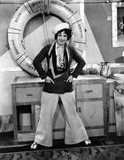 Woman dressed as sailor - stock photo