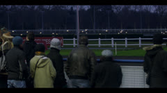 HARNESS RACING - FROM SIDE NIGHT Stock Footage