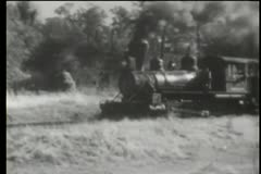 steam locomotive passing through countryside - stock footage