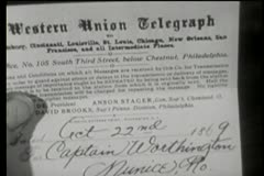 Close-up of a person holding a western union telegraph Stock Footage