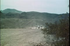 Private aircraft taking off from rural airfield Stock Footage