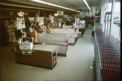 Lights flickering in a supermarket and bank Stock Footage