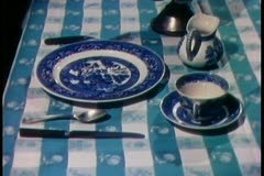 lock down shot of  place setting arranged for one person - stock footage