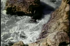 High angle view of waves splashing over rocky cliffs Stock Footage