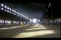 Tracking shot of abandoned airplane hangar Stock Footage