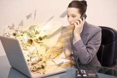 Laptop screen of a businesswoman exploding Stock Photos