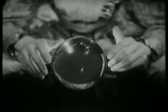 Medium shot of  fortune teller with crystal ball Stock Footage