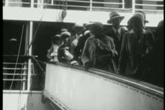 Passengers disembarking ship Stock Footage