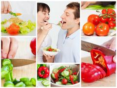 Stock Photo of Collage of couple eating vegetables