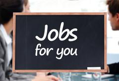 Jobs for you written on a blackboard - stock photo