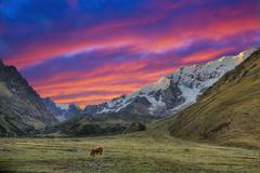 evening in the andes - stock photo