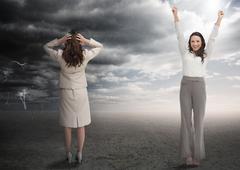 Successful and stressed businesswomen - stock photo