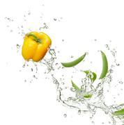 capsicum and peas - stock photo