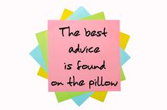 """Proverb """" the best advice is found on the pillow """" written on bunch of sticky Stock Photos"""