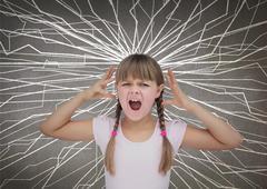 Cute child screaming - stock photo