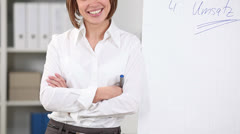 Woman with flipchart while standing alongside it Stock Footage