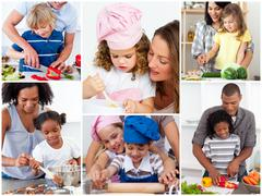 Collage of cute families - stock photo