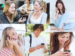 Collage of people using their mobile phone Stock Photos