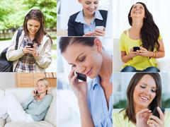 Collage of women using their cell phone - stock photo
